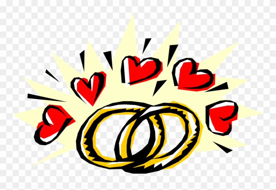Vector Illustration Of Wedding Band Rings Signify Pledge.
