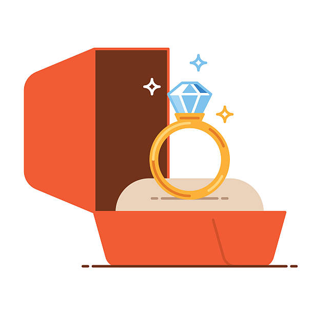 Wedding Ring In Box Clipart.