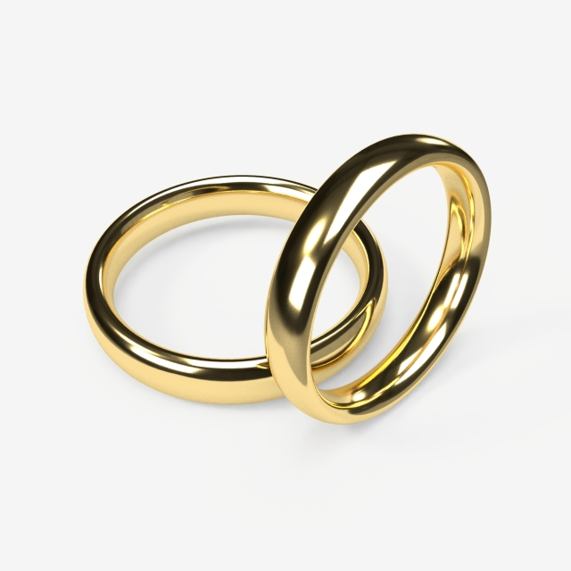Realistic Wedding Rings On Transparent Background, Wedding, Rings.