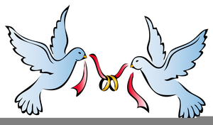 Doves Wedding Rings Clipart.