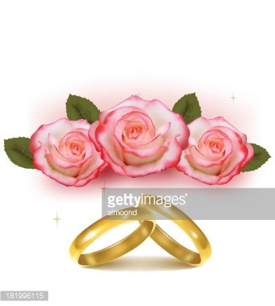 wedding bands and roses Clipart Image.