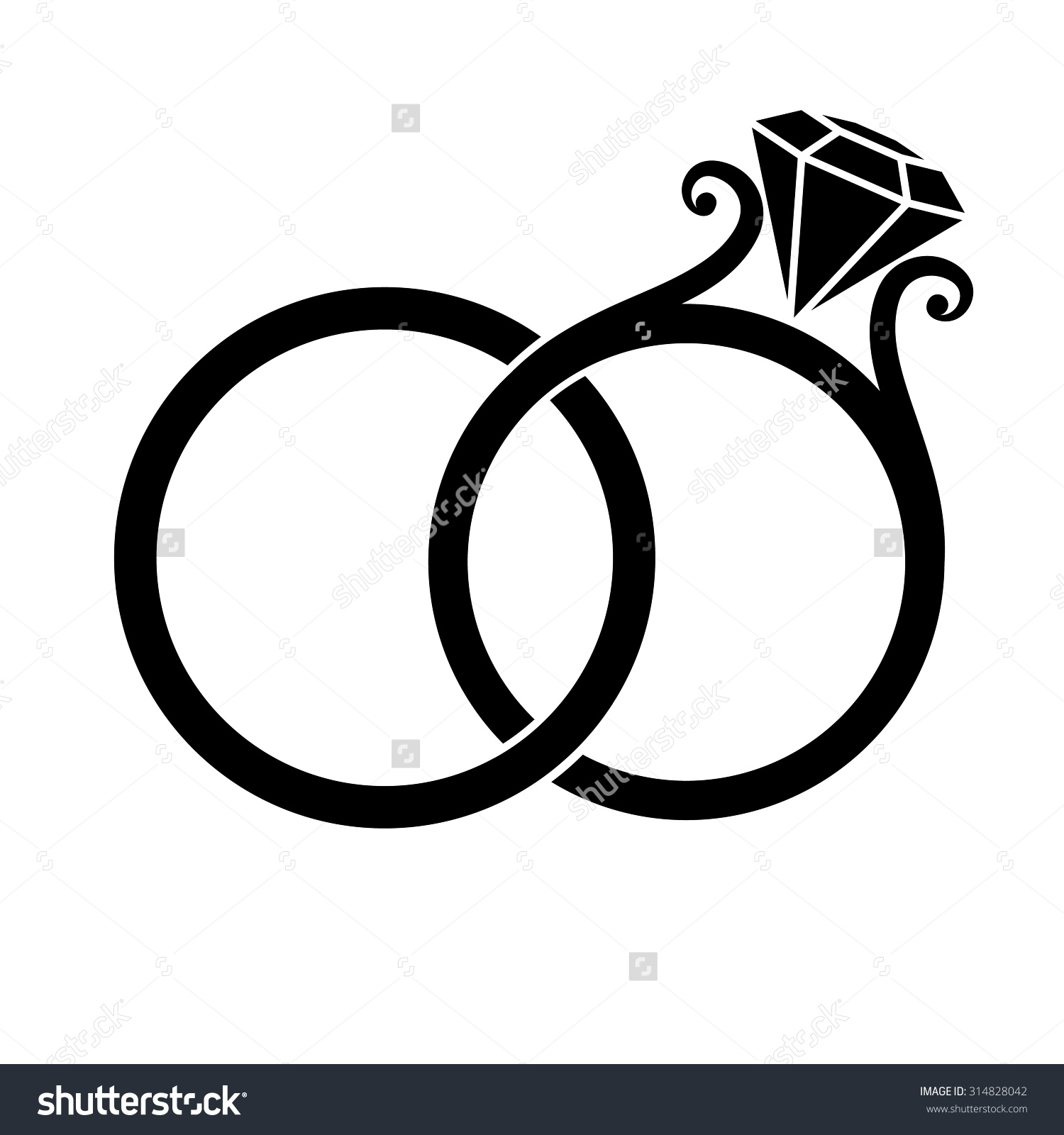 Wedding rings clipart silhouette.