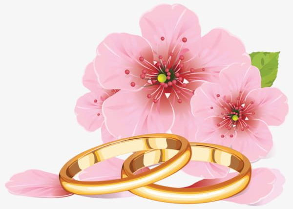 Pink Flowers And Golden Rings PNG, Clipart, Couple, Couple.