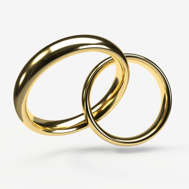 Interlaced Gold Rings On A Transparent Background, Wedding, Rings.