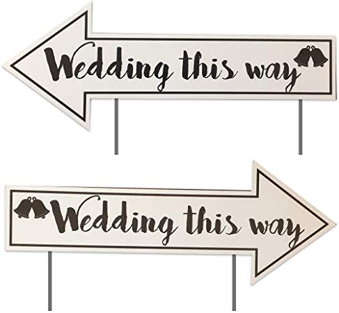 VictoryStore Wedding Yard Signs Wedding Directional Signs (2 Pack) with 2  Stakes per Sign.