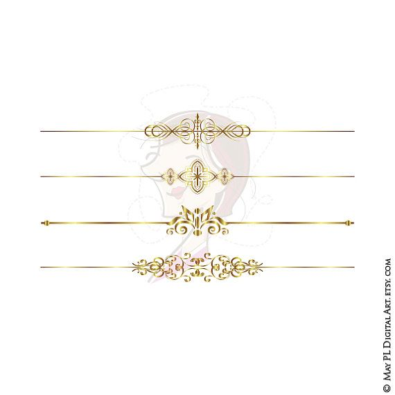 Gold Text Dividers Clipart Wedding Page Decoration Office.