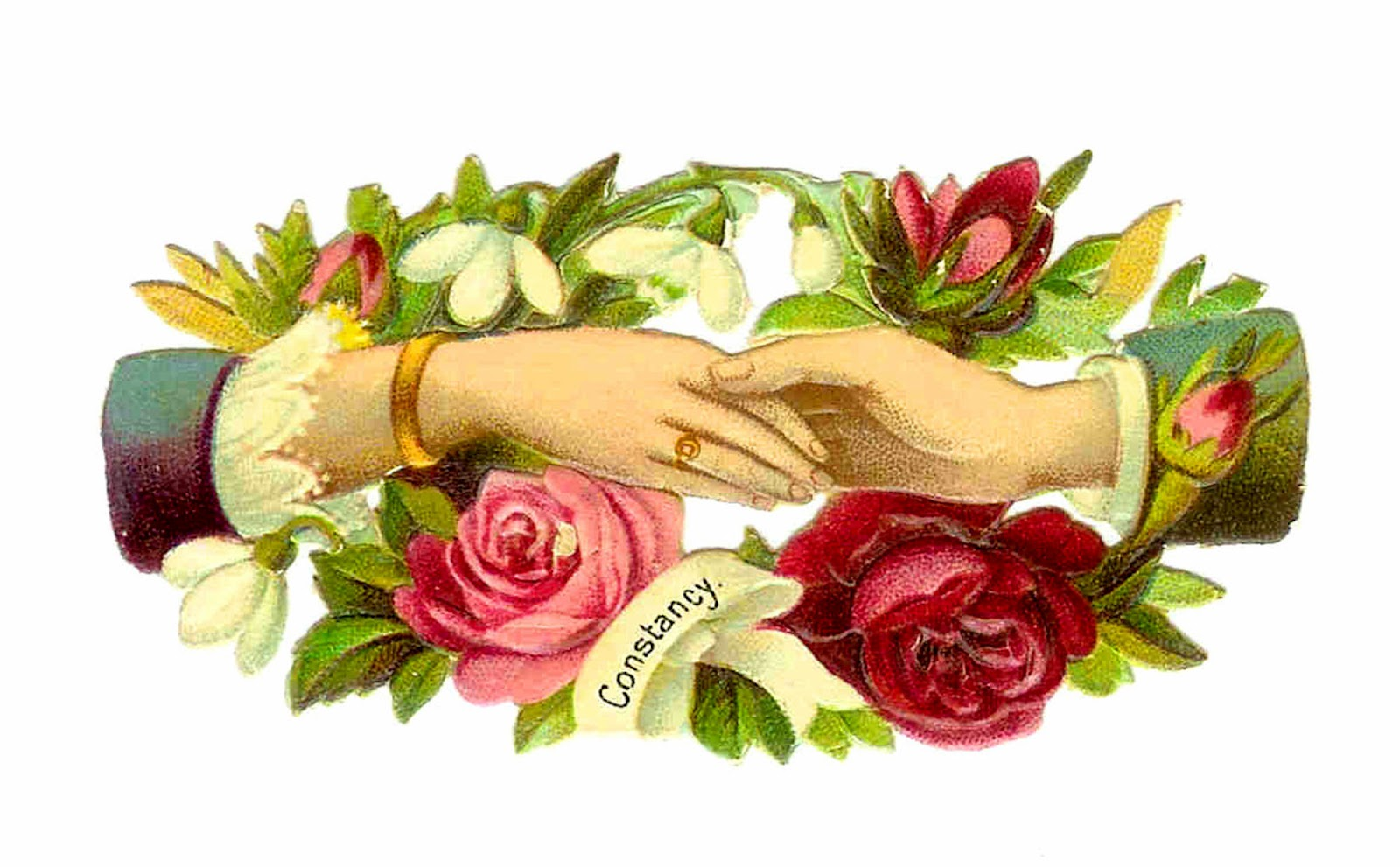 Antique Images: Victorian Clip Art: Red and Pink Rose Clip Art.