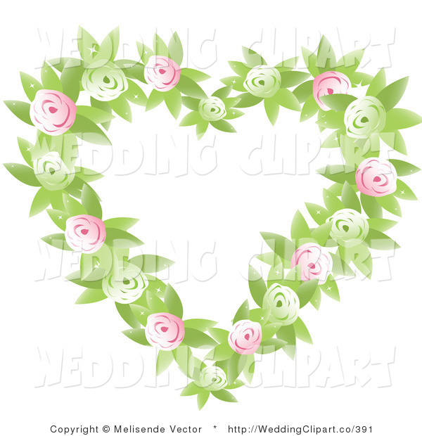 Vector Marriage Clipart of a Wedding Green and Pink Rose and Leaf.