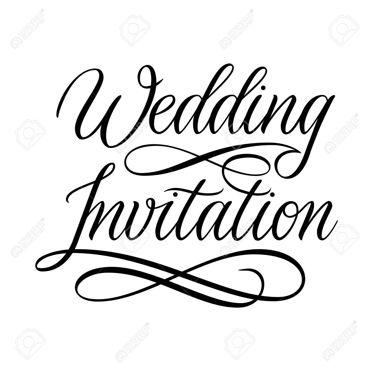 Wedding Invitation card design. Hand Written calligraphy flourish...