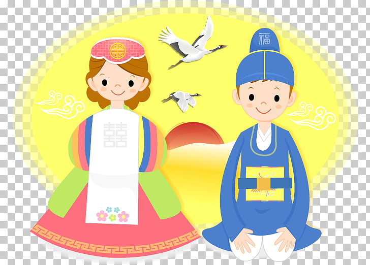 Bridegroom Hanbok Illustration, Cartoon bride and groom.