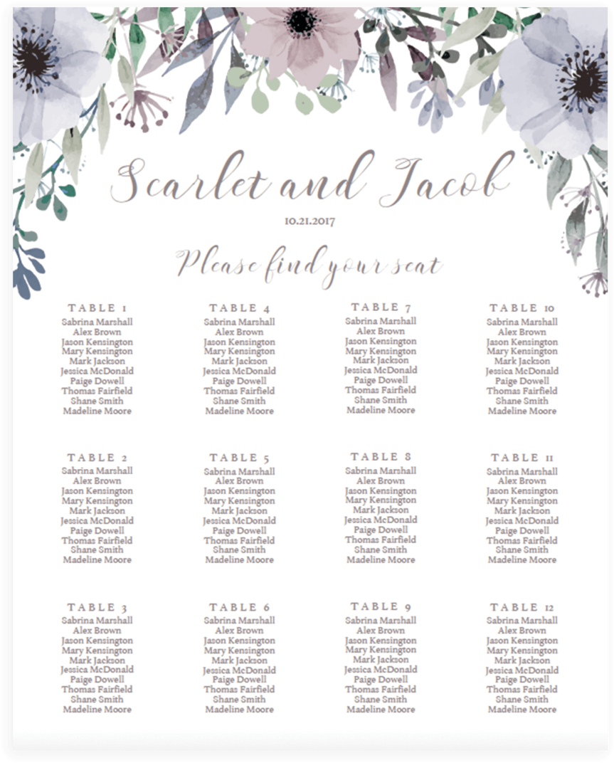 Spring Wedding Table Seating Charts.