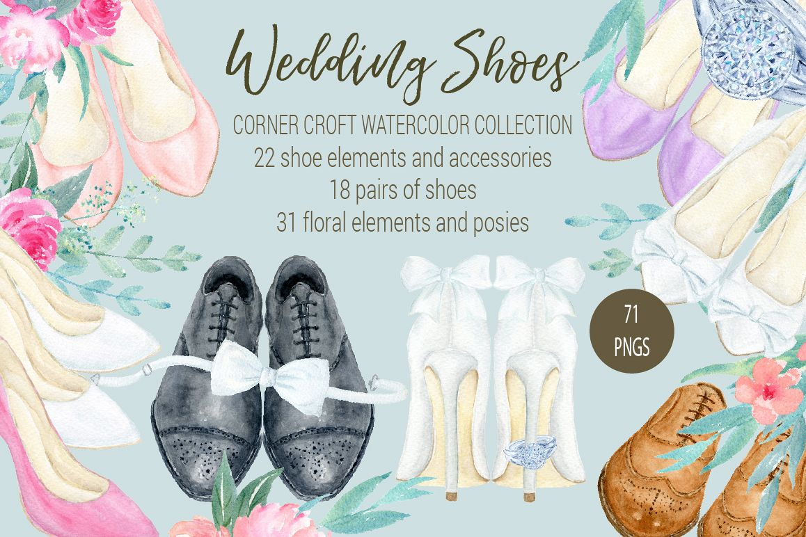 Watercolor Collection wedding shoes, wedding shoes clipart.