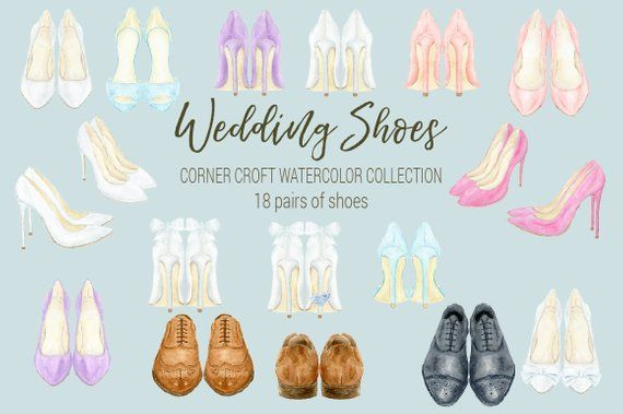Wedding shoes clipart watercolor wedding shoe white peach.