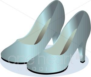 Satin Wedding Shoes Clipart.