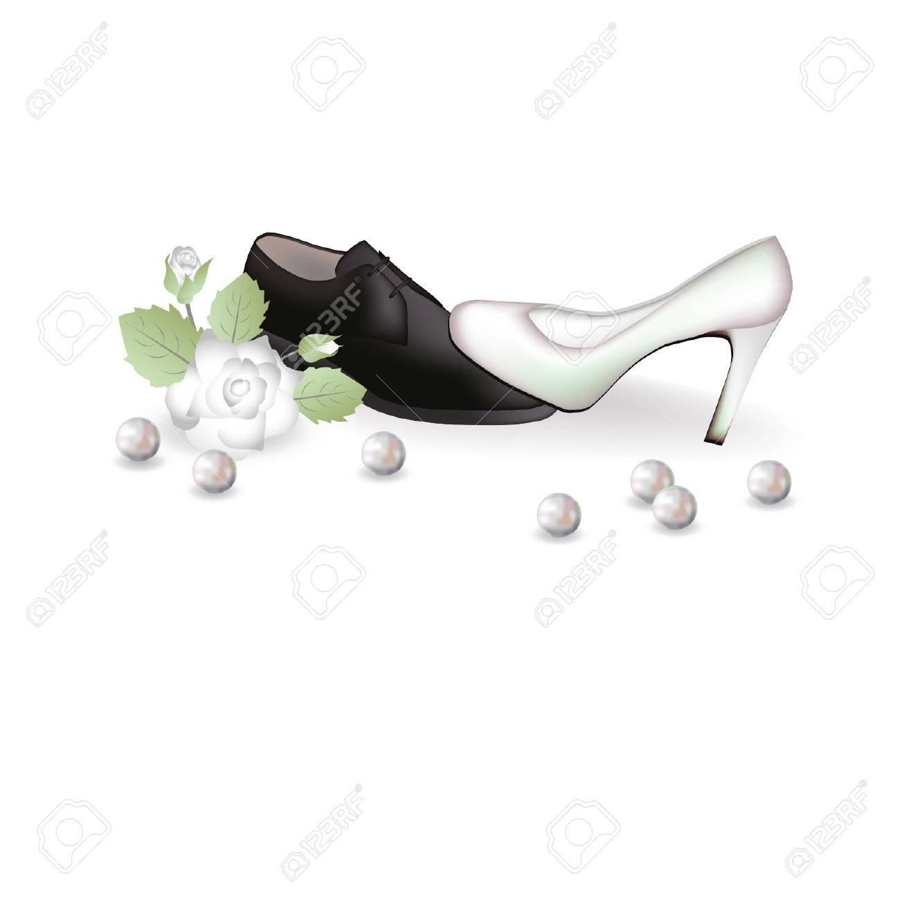 Wedding shoes and a rose illustration.