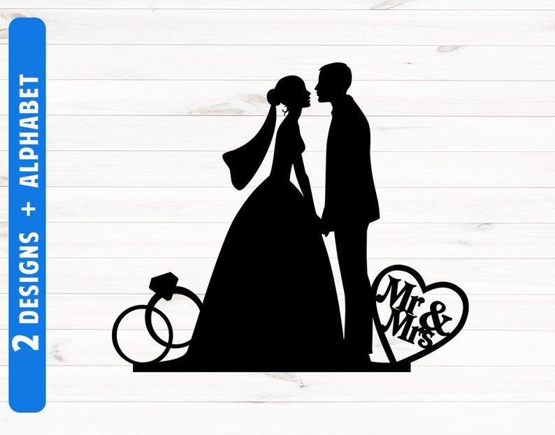 Wedding silhouette cake topper Weddong silhouette clipart Wedding SVG files  Wedding scg fonts Cut files.