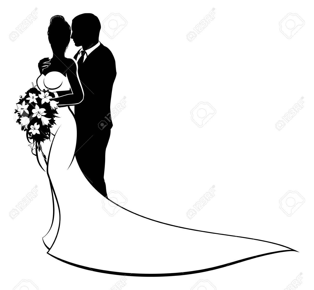 Bride and Groom Husband Wife Wedding Silhouette.