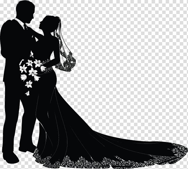 Silhouette of bride and groom, Wedding invitation Bridegroom.