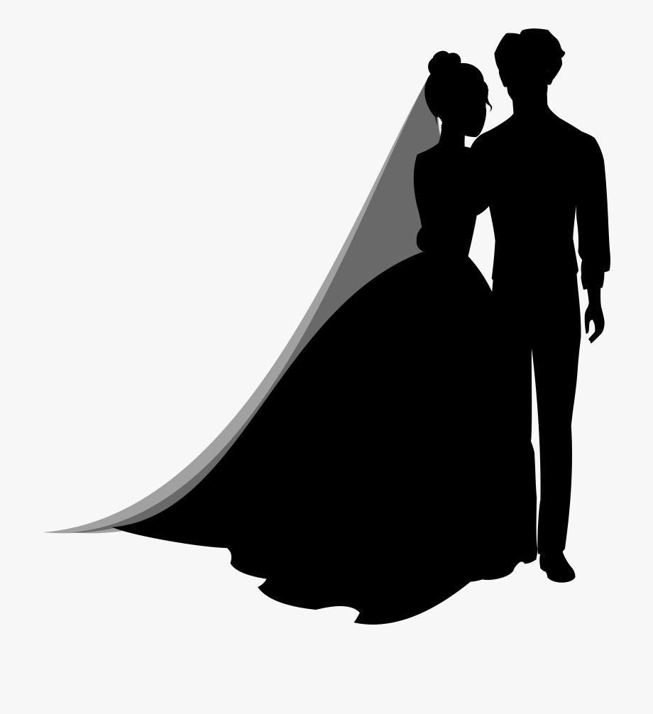 Wedding Couple Silhouettes Png Clip Art.