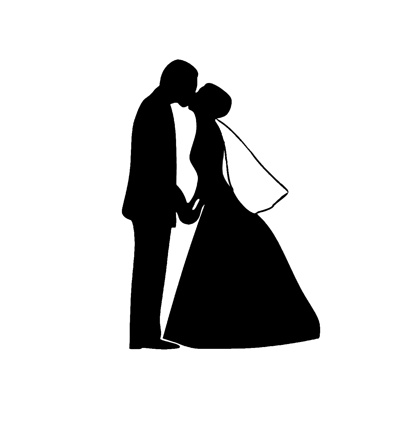 Wedding Couple Silhouette PNG Image.