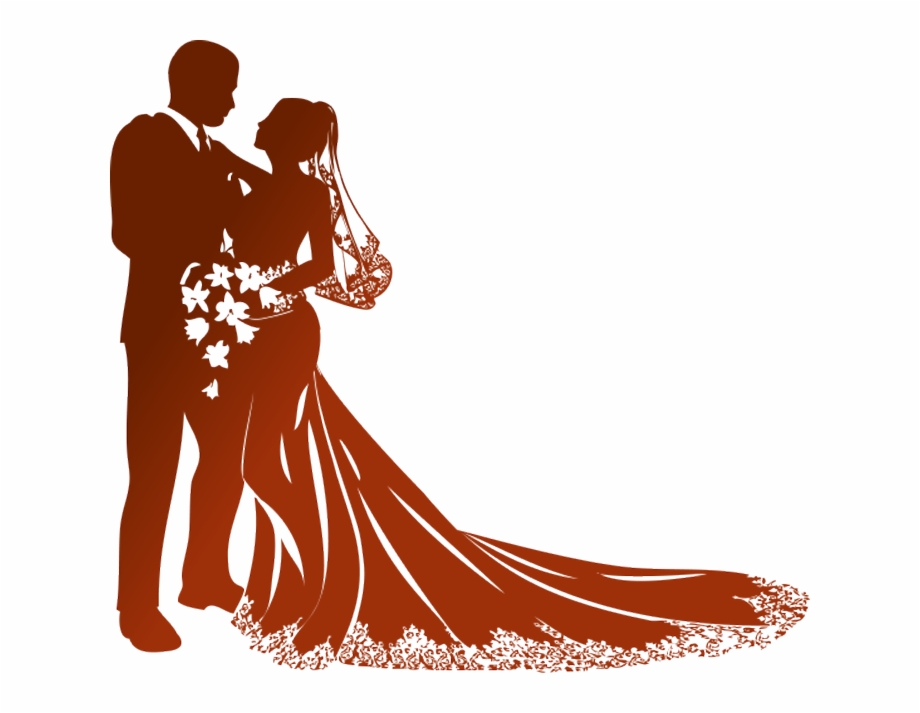 Modern Wedding Couple Silhouette Png.