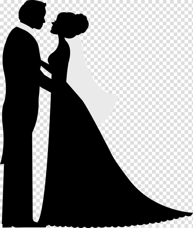 Silhouette Wedding invitation Bridegroom, wedding couple transparent.