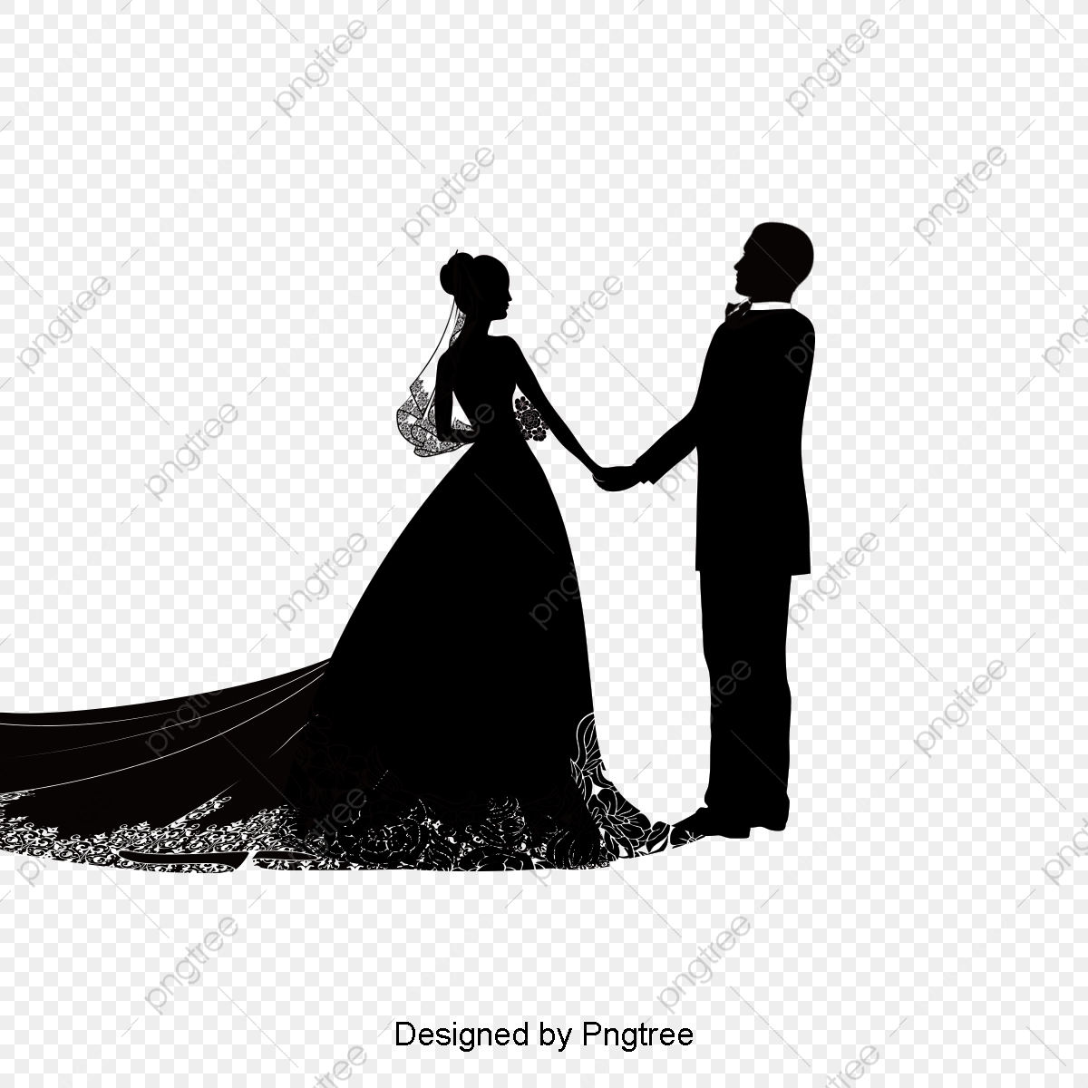 Creative Wedding Silhouette, Bride And Groom, Wedding, Marry PNG.