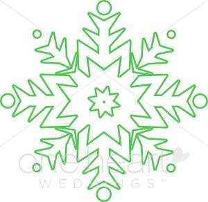 Green Snow Flake Clipart.