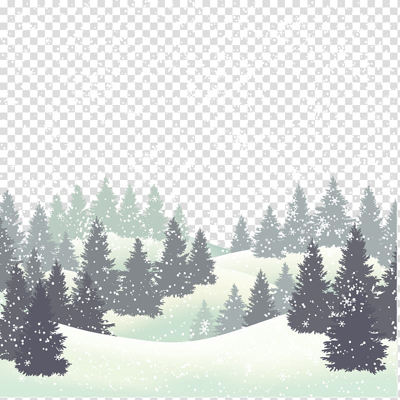 Black pine trees and snowflakes illustration, Wedding.