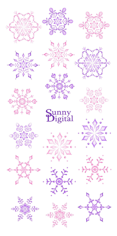 Pink snowflake clipart Handpainted winter DIY Watercolor.
