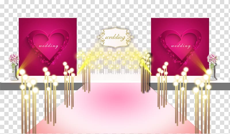 Pink wedding designs on the main stage renderings.