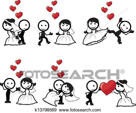 Stick figure wedding Clip Art.
