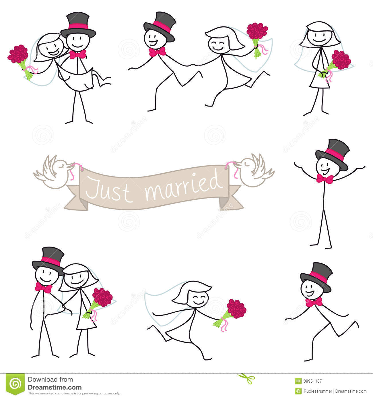 Stickman Wedding Clipart.