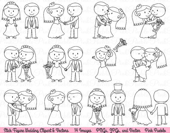 Wedding Stick Figure Clipart Clip Art, Wedding Clip Art.