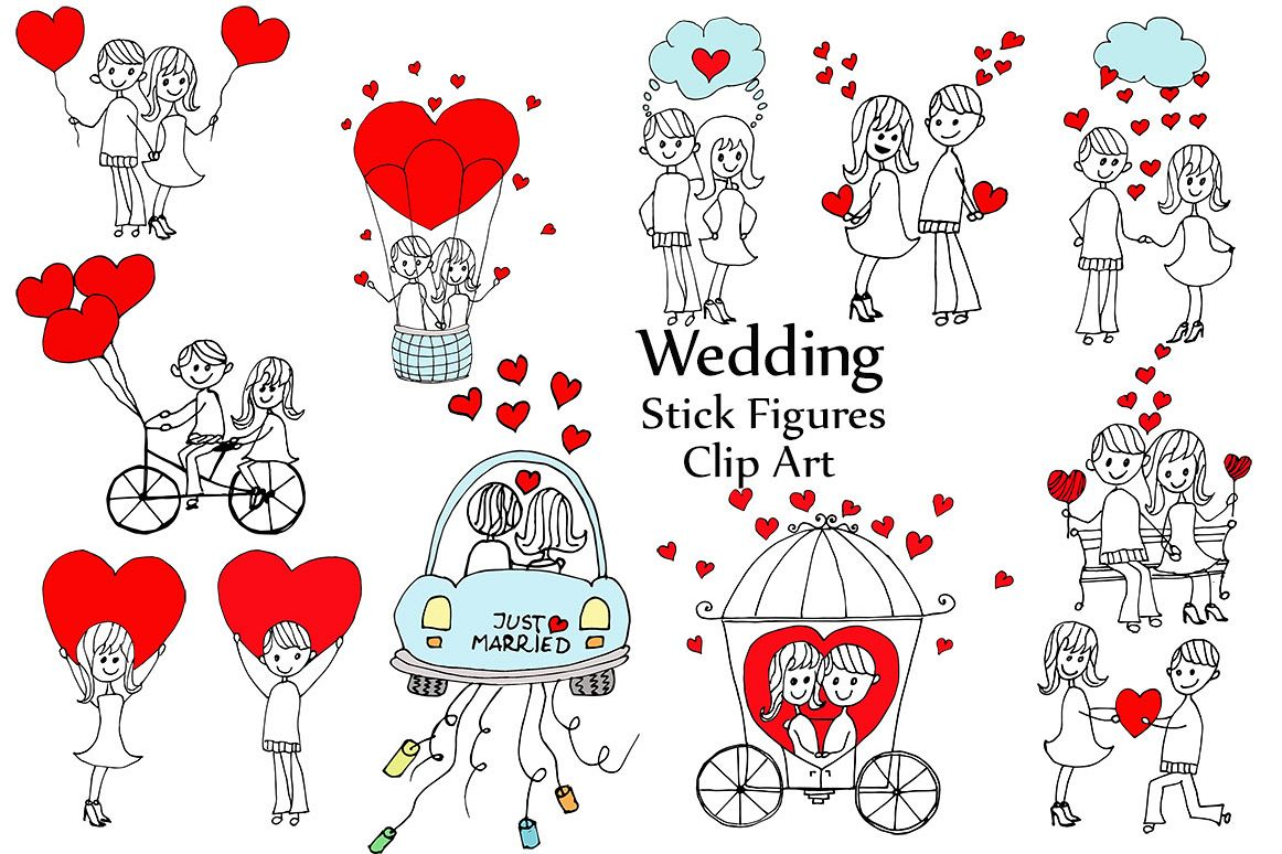 Wedding stick figure clip art.