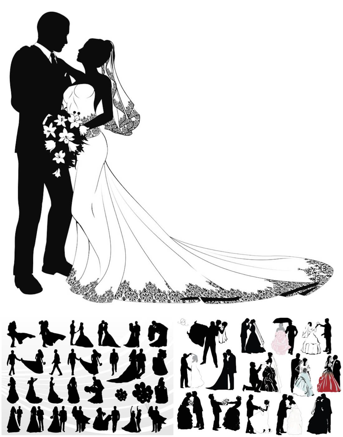 Wedding couple silhouettes in different poses for invitation.