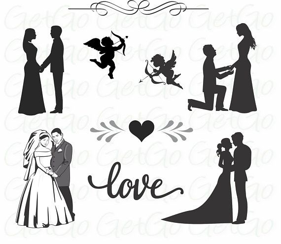 Wedding Icons and Bride and Groom Silhouettes Clipart.