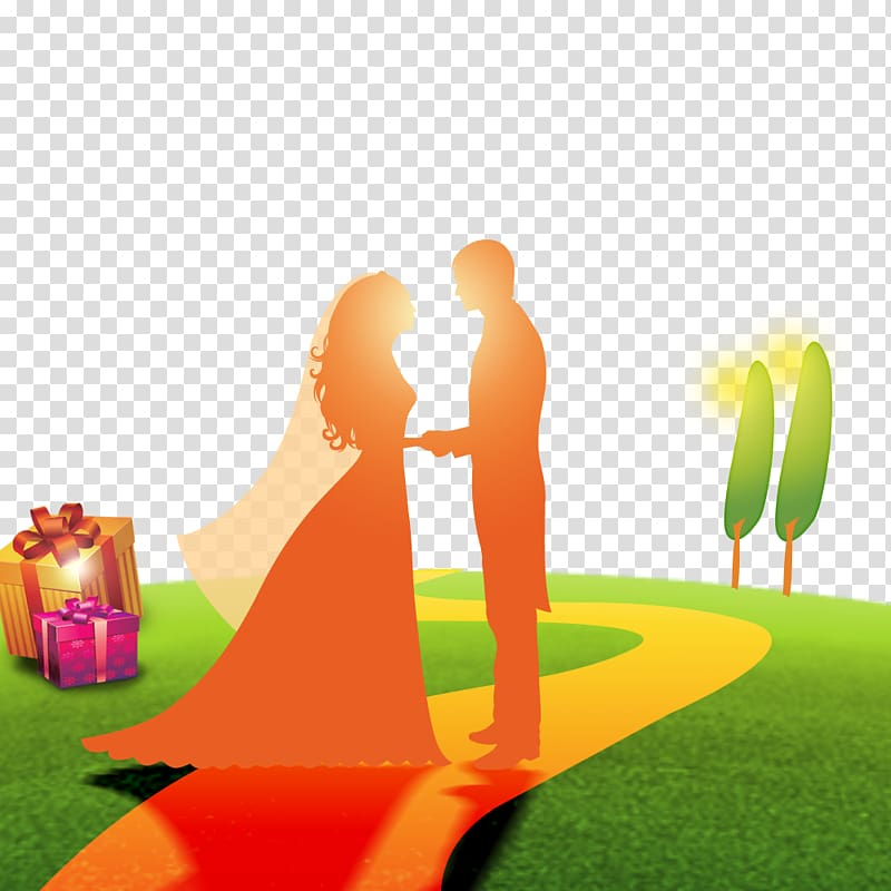 Marriage Romance Intimate relationship, Wedding sunset.