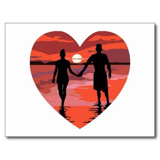 Red Heart Sunset Beach Holding Hands Postcard.