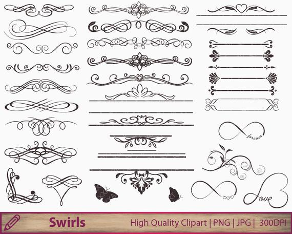 Wedding invitation swirls clipart, flourish clip art, calligraphy graphics,  scrapbooking, digital instant download, jpg png 300dpi.