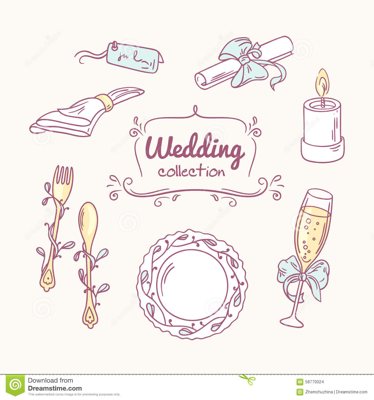 Wedding Table Decoration In Doodle Style. Hand Drawn Celebration.