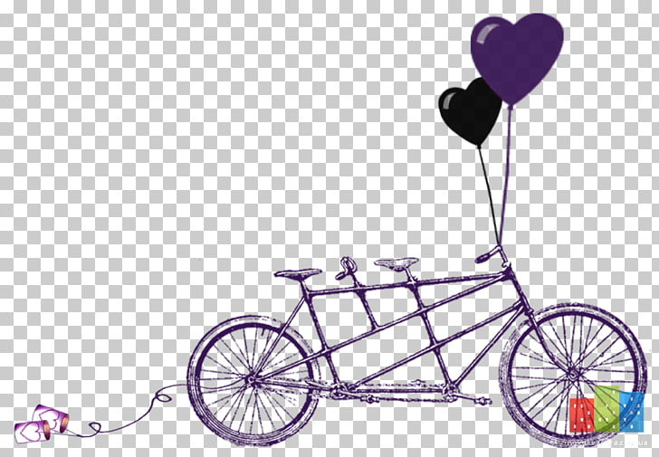 Wedding invitation Tandem bicycle Convite, Bicycle PNG.