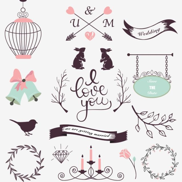 Collection Of Wedding Design Elements, Lace, Wedding.
