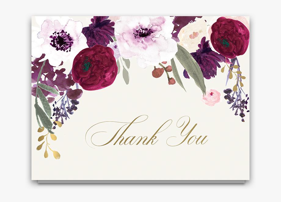 Floral Wedding Thank You Cards Burgundy Purple Gold.