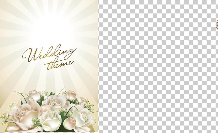 Wedding invitation , Romantic Flowers Wedding Theme PNG.