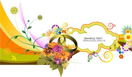 Wedding Theme Vector Illustration material Clipart Picture.