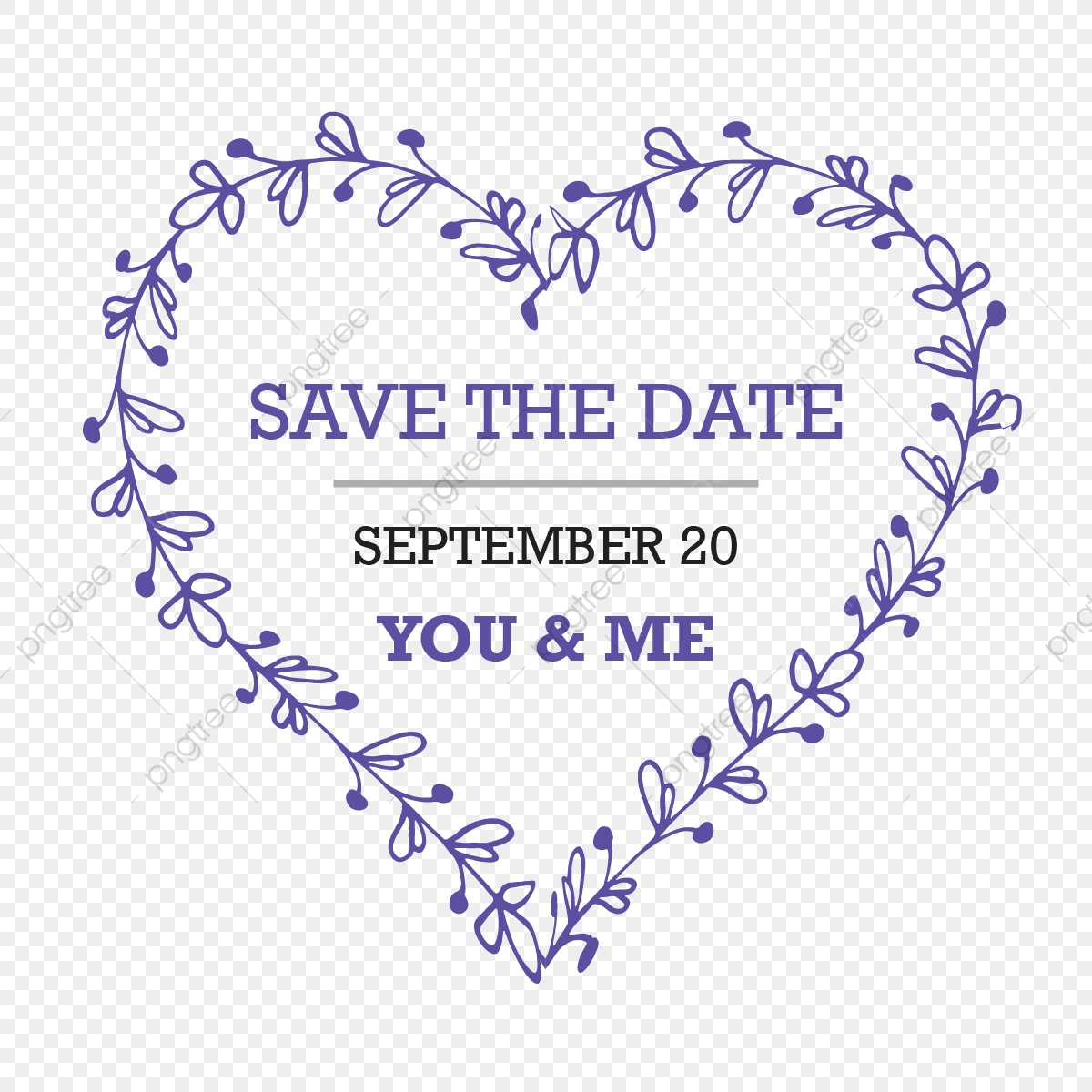 Botanical Flower Heart Save The Date Wedding Title, Floral, Heart.