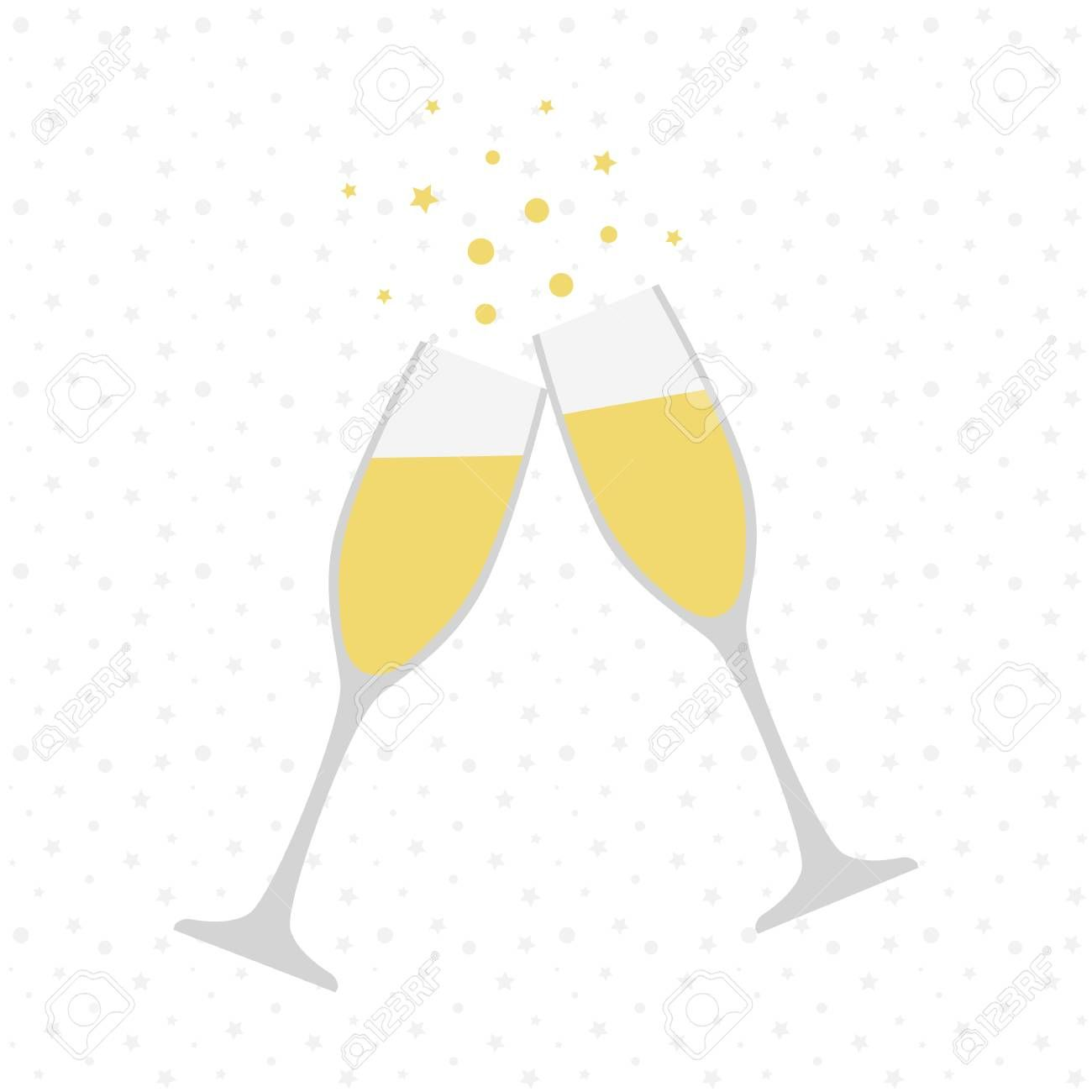 Two champagne glasses. Cheers. Celebration. Holiday toast.