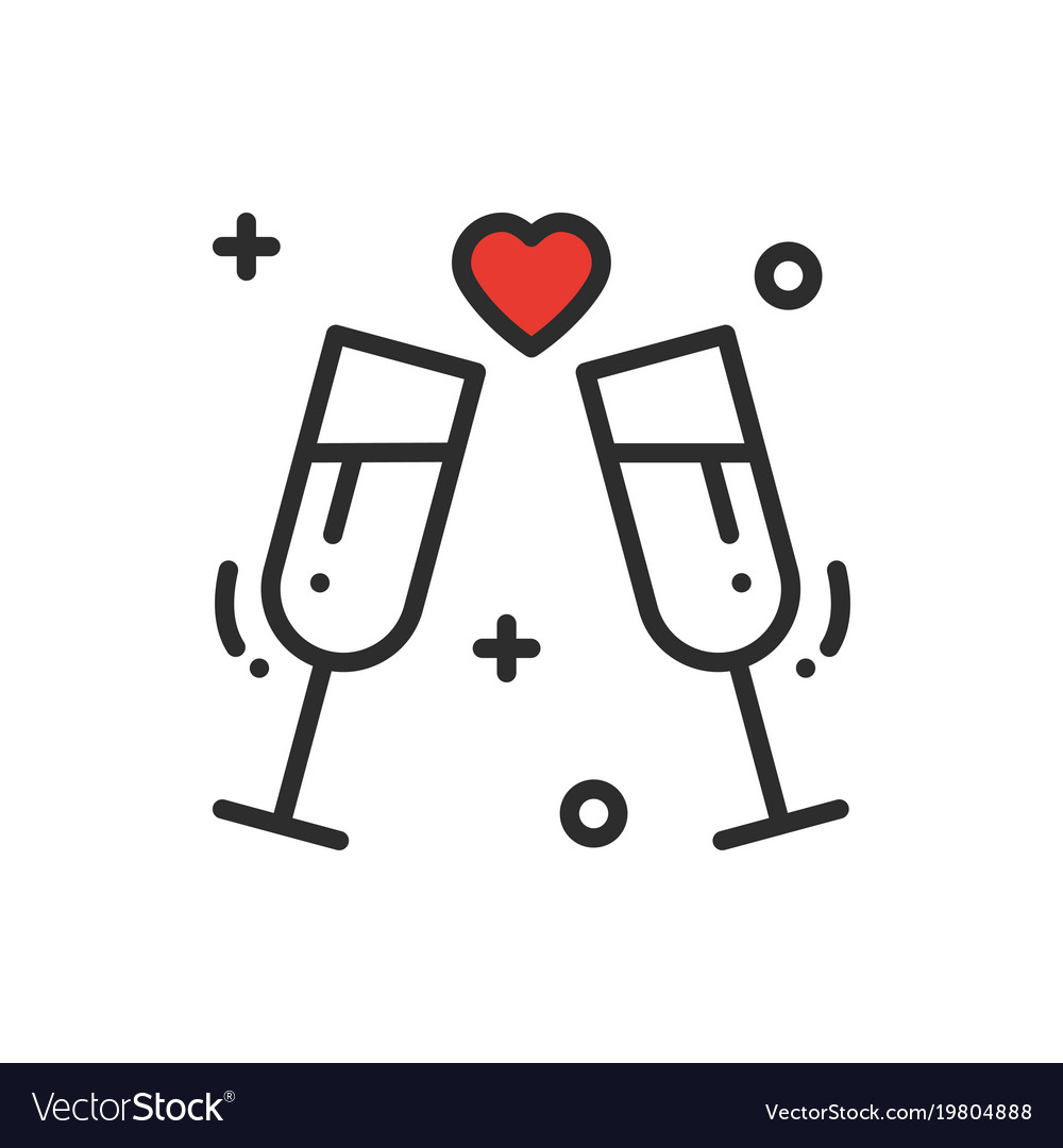 Two glasses romantic toast line icon wedding.