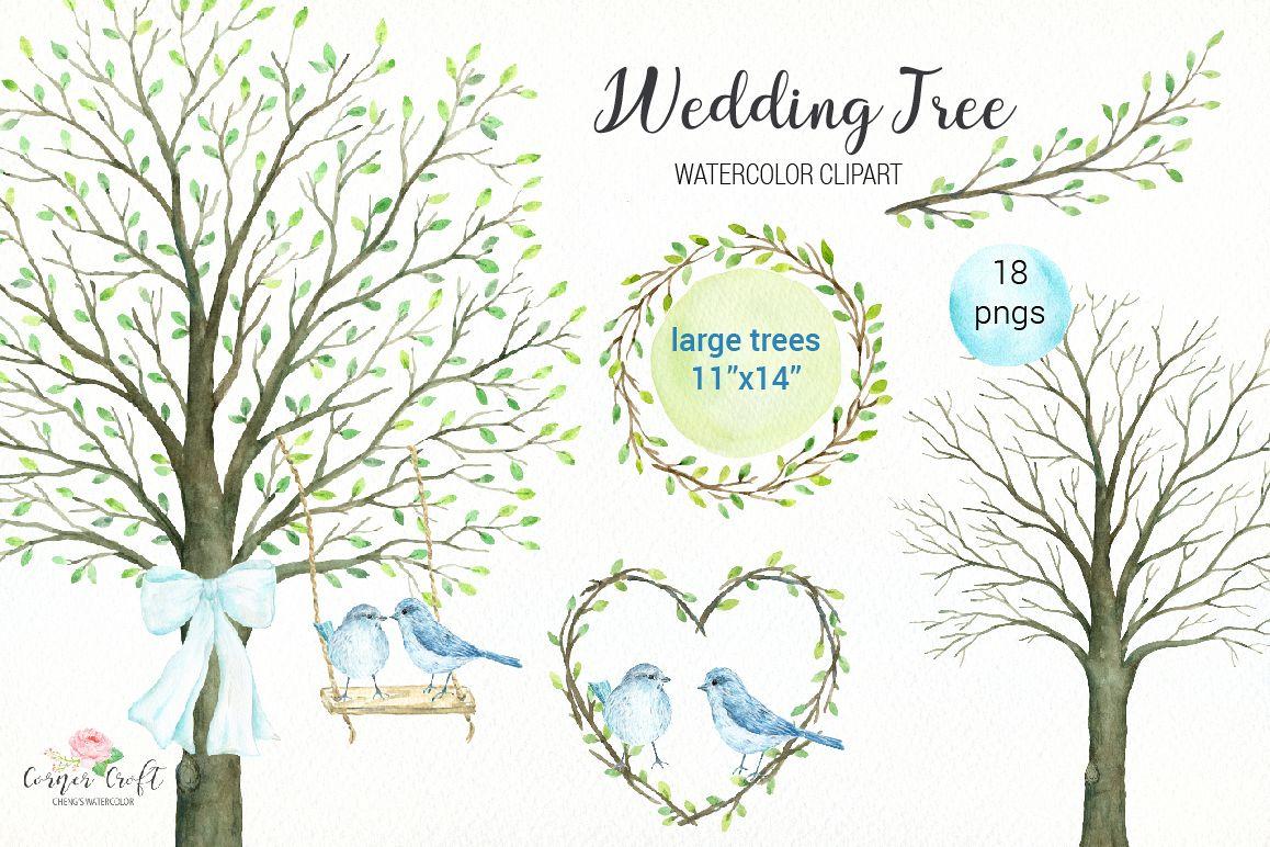 Wedding Tree Watercolor Clipart.